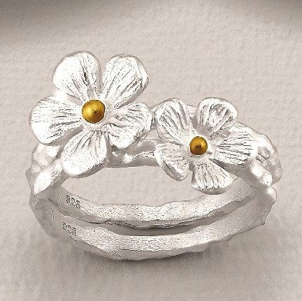 Bague fleurs de champs - or et argent- Flower Stack Ring