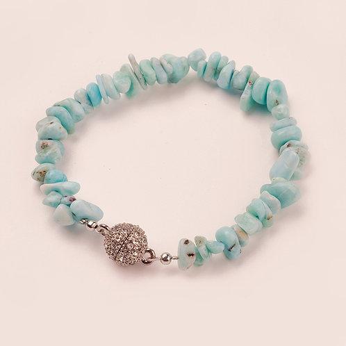 Larimar Bracelets +Alloy Rhinestone Magnetic Clasps