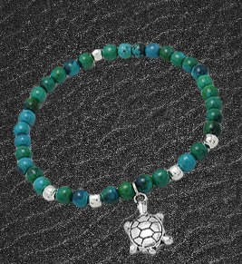 Bracelet Azurite-Malachite (anti-stress) et argent .925