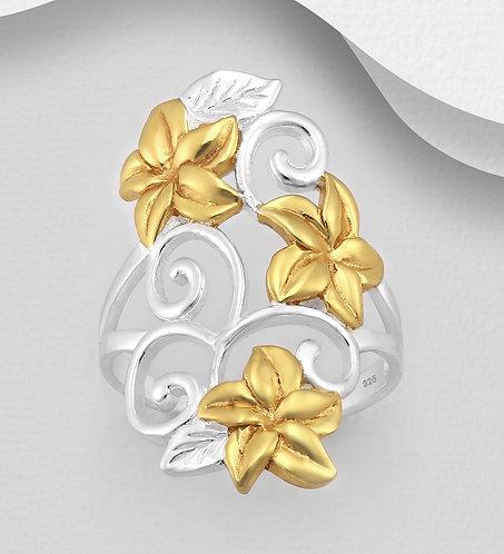 Bague motif floral, argent et or 18k