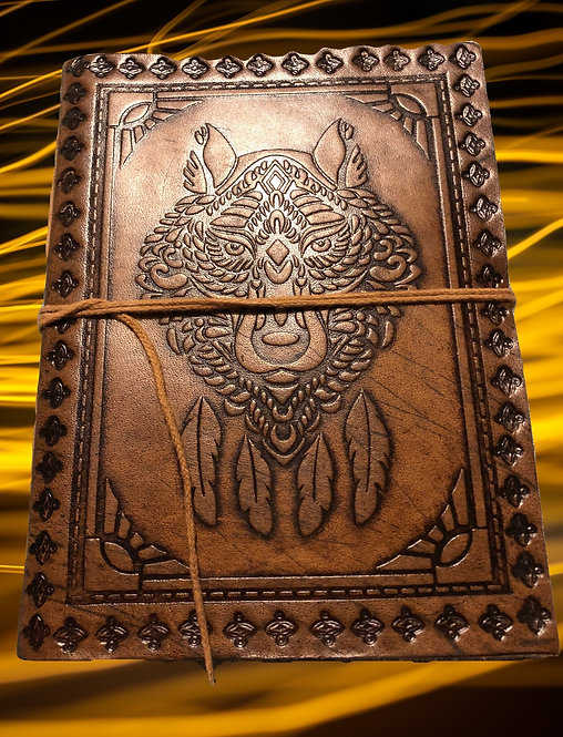 """Carnet de notes en cuir - livre de sorts -journal: motif chamanique- 8""""/6"""""""