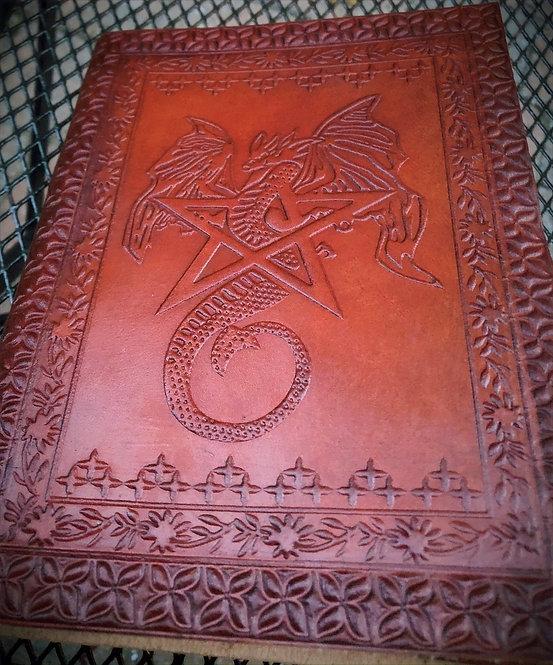 Carnet de notes en cuir- livre de sorts -journal: motif: Dragon et Pentagramme
