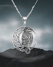 pentacle, corbeau, pentagram, raven, pendant, wicca, pagan, silver