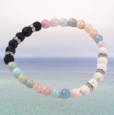 Natural Morganite Stretch Bracelets+ Lava Beads and Rhinestone