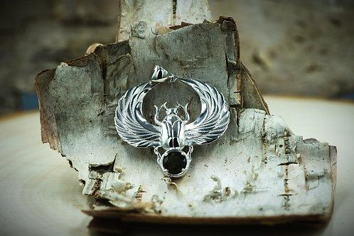 Pendentif Scarabée  (Moldavite + Sterling Silver 925)