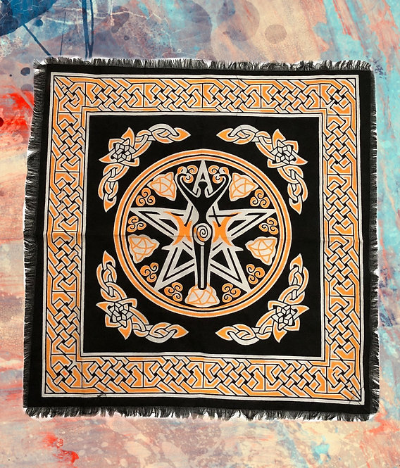 Tapisserie pentacle et déesse- nappe d'autel