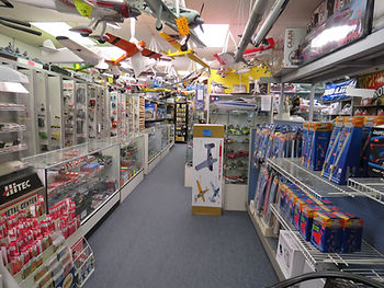 Many model planes on display in store