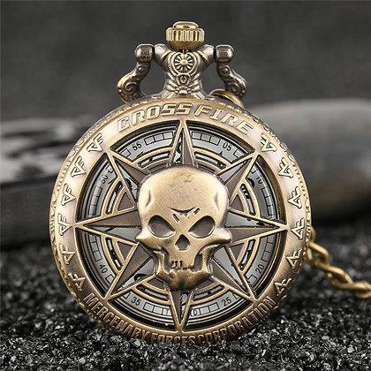 Rock Fashion Pocket Watch Skull Stars  Pendant Men Women