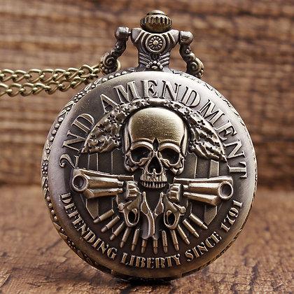 DEFENDING LIBERTY SINCE Gun Skull Quartz Necklace Mens Women Pocket Watch Gifts