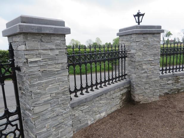 Grey Slate Wall & Pillars