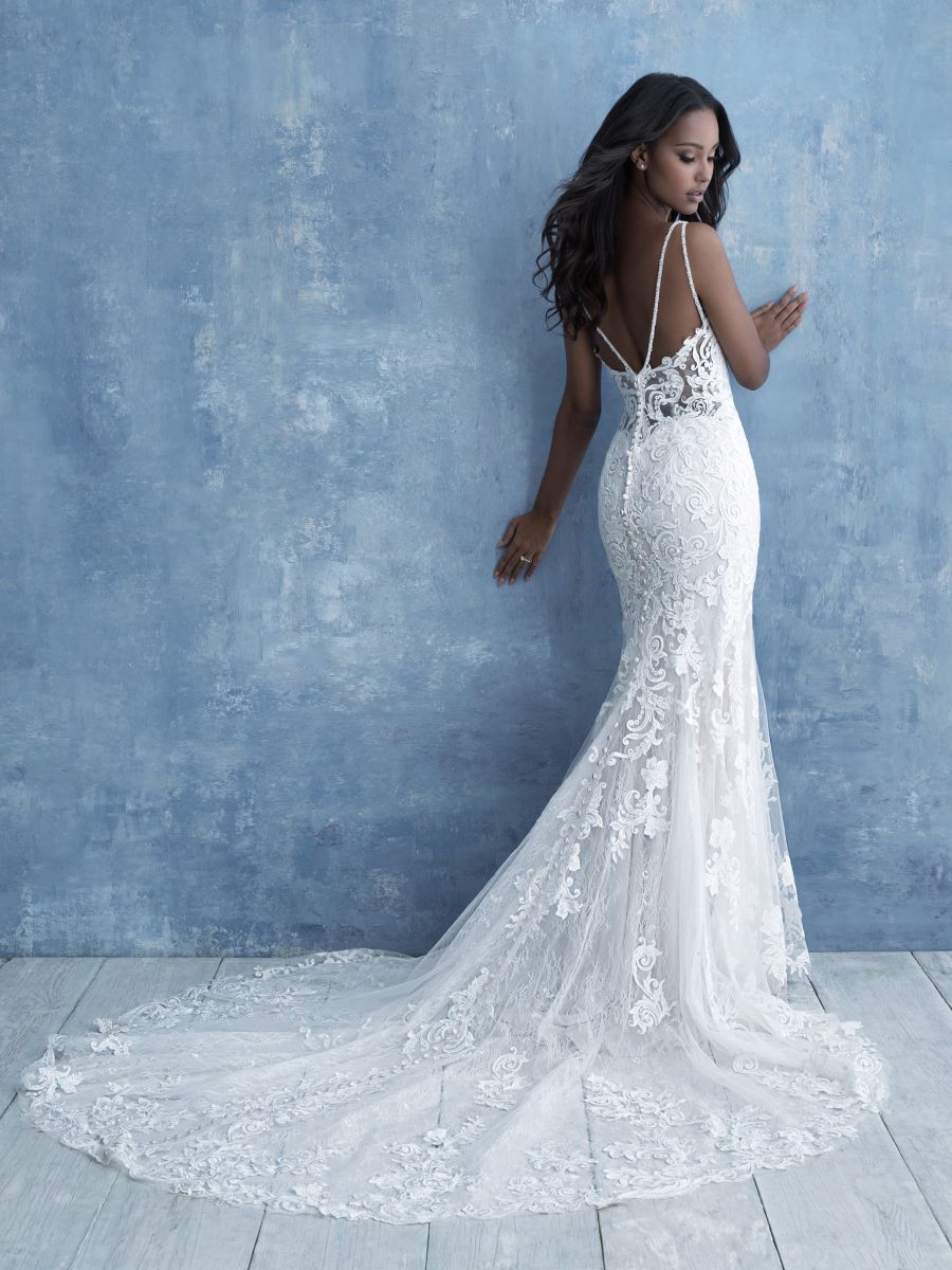 Sequined Appliqués with a Lace Corset Back and Stunning Train