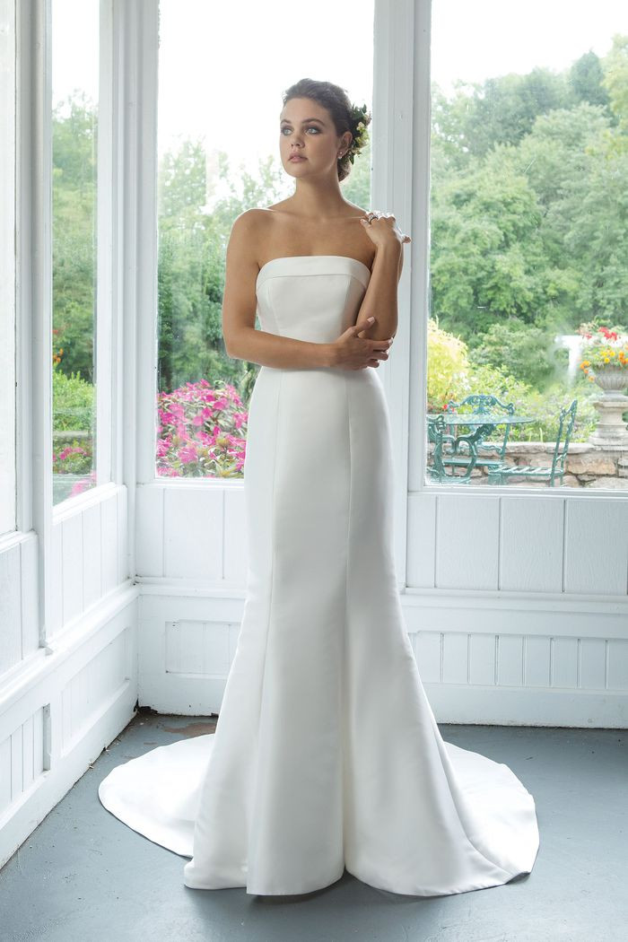Mikado Strapless Fit and Flare gown with Cuff Neckline