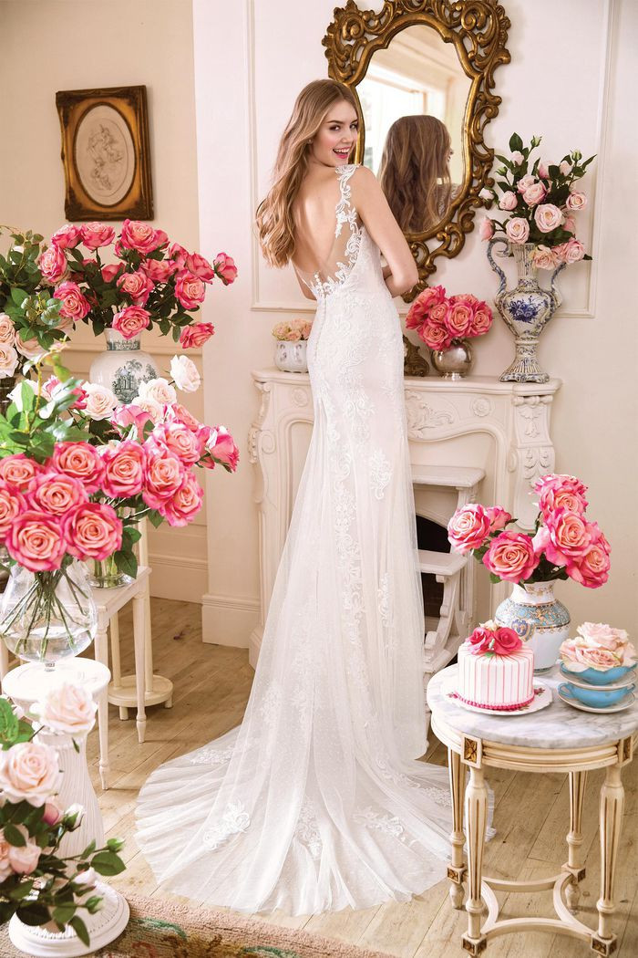 Lace Fit and Flare Gown with Plunging V-neckline.