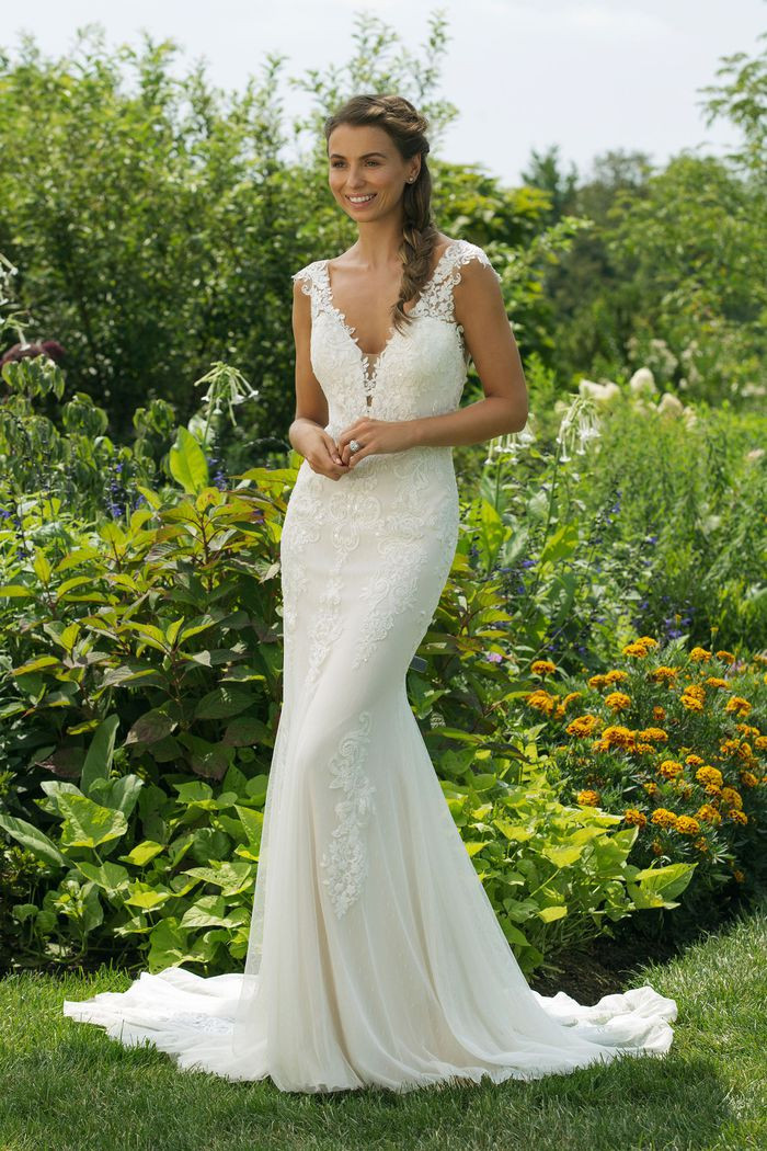 Lace Fit and Flare Gown with Plunging V-Neckline