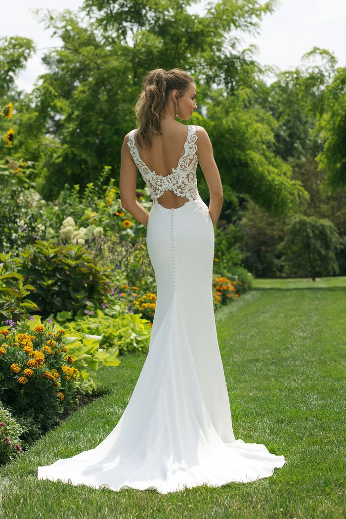 V-Neck Crepe Gown with Lace Key Hole Back