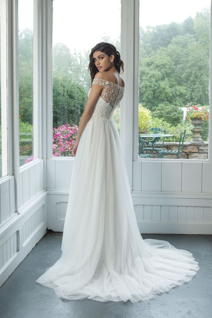 Off the Shoulder Beaded Bodice with A-line English Net Skirt