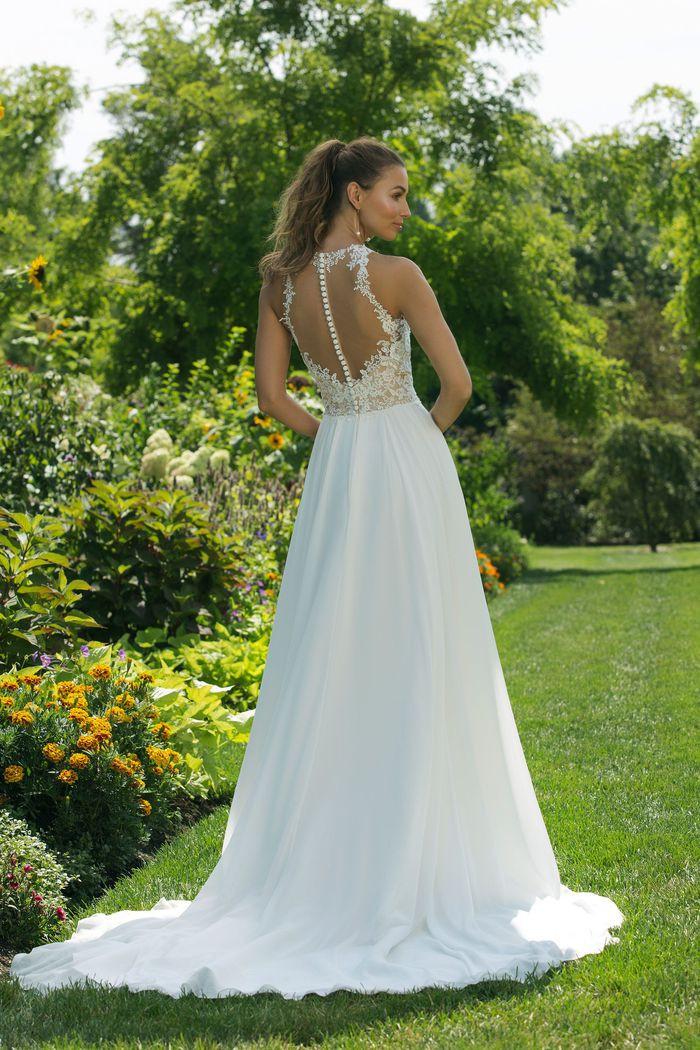 Illusion Jewel Neckline Gown with Chiffon Skirt