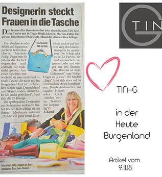Tin-G, Heute Zeitung, Heute, Heute Bugenland, Tin-G, veganeTasche, Tasche, wandelbar, Martina Fülöp-Unger, individuelle Tasche, Taschendesign