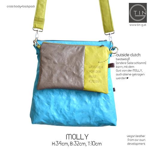 MOLLY-aqua mit Gurt+OutsideClutch