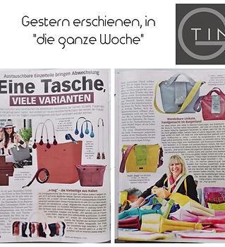 Tin-G, wandelbare Tasche, vegane Tasche, Tasche, wandelbar, Martina Fülöp-Unger, Die ganze Woche, Pressebericht,  individuelle Tasche, Taschendesign, O-Bag