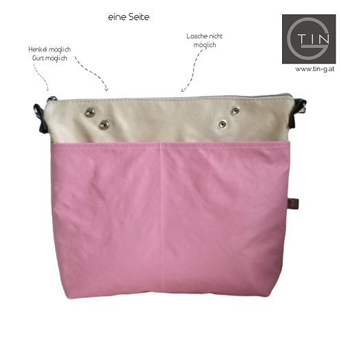 BAGY - beige+schwarz+pink+Außentasche