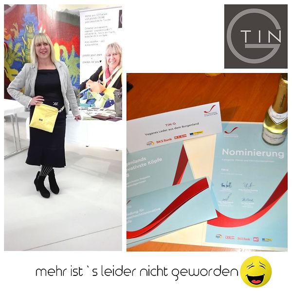 Preisverleihung, Innovationspreis Burgenland 2018, Innovationspreis, Tin-G, vegane Taschen, Clutch gelbe, Martina Fülöp-Unger, Schlumberger