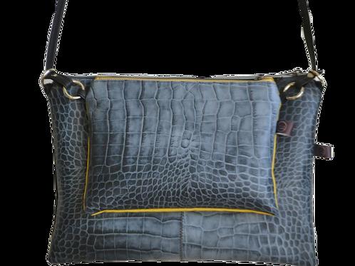 Flatbags-grau Krokooptik+schwarz+gelb