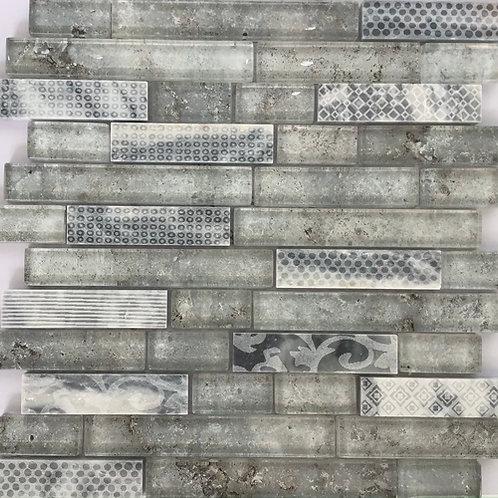 Grey Rustic Glass Mosaic 12.75X11.5/8