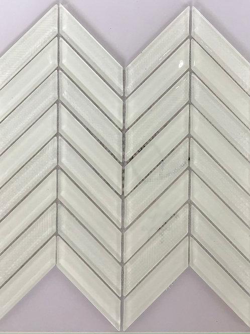 White Frosted Herringbone Glass Mosaic 15X11.75