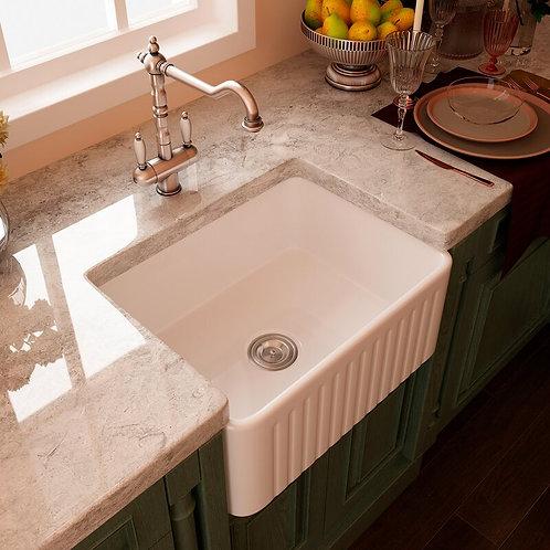 "Ceramis 24"" L x 18"" W Farmhouse Kitchen Sink"