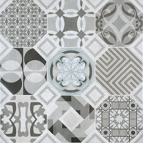 Patchwork Geotile 60x60 Black Matt Tile