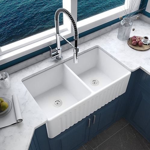 "33"" L x 18"" W Double basin farmhouse kitchen sink"
