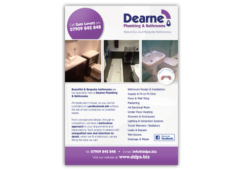 Dearne Plumbing & Bathrooms Leaflet Design