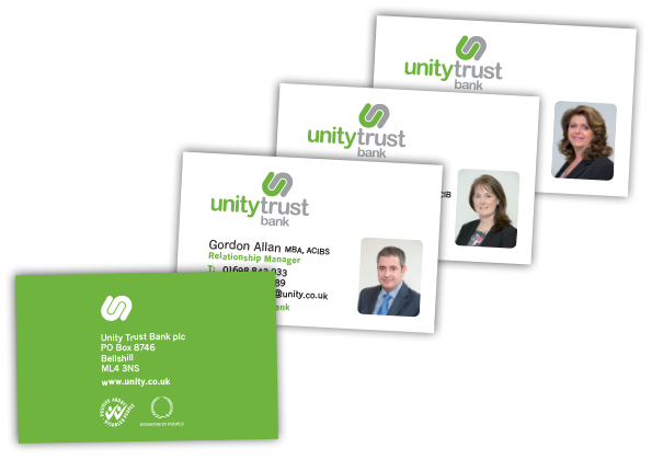 Unity Trust Bank Business Card Design
