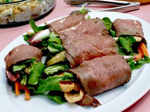pork rind salad stuffed beef roll-up