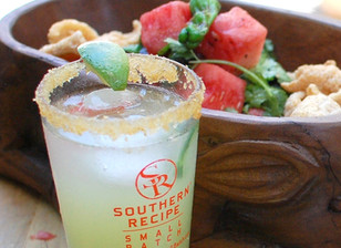 cucumber margarita with a crushed cilantro lime pork rind & salted rim