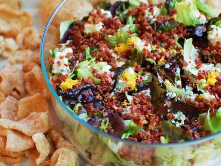 layered chopped wedge salad dip & pork rinds