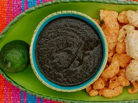 ash salsa with pasilla chili cheese pork rinds