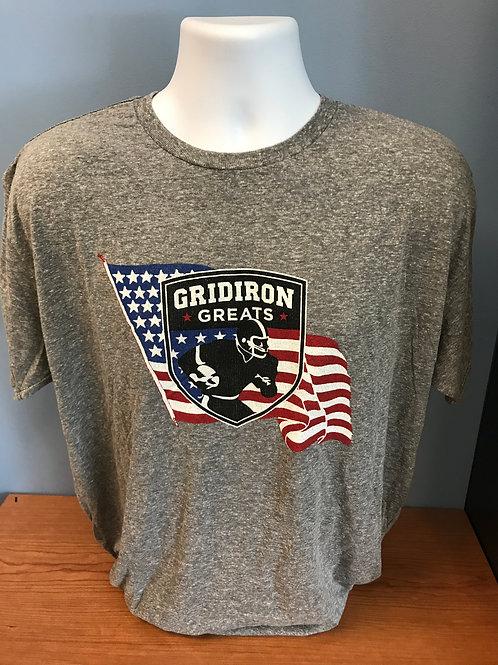 Gridiron Greats Grey Logo with Flag Shirt