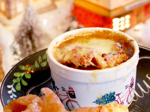 christmas french onion soup with pork rind croutons