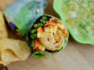 mango summer rolls with pork rinds