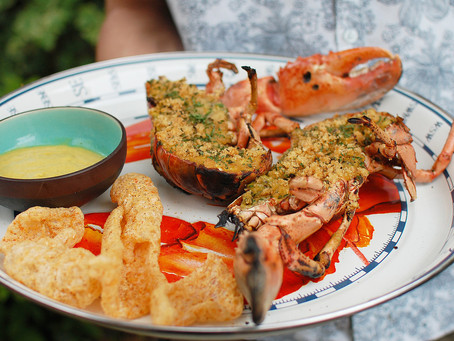 pork rind crusted whole grilled lobster