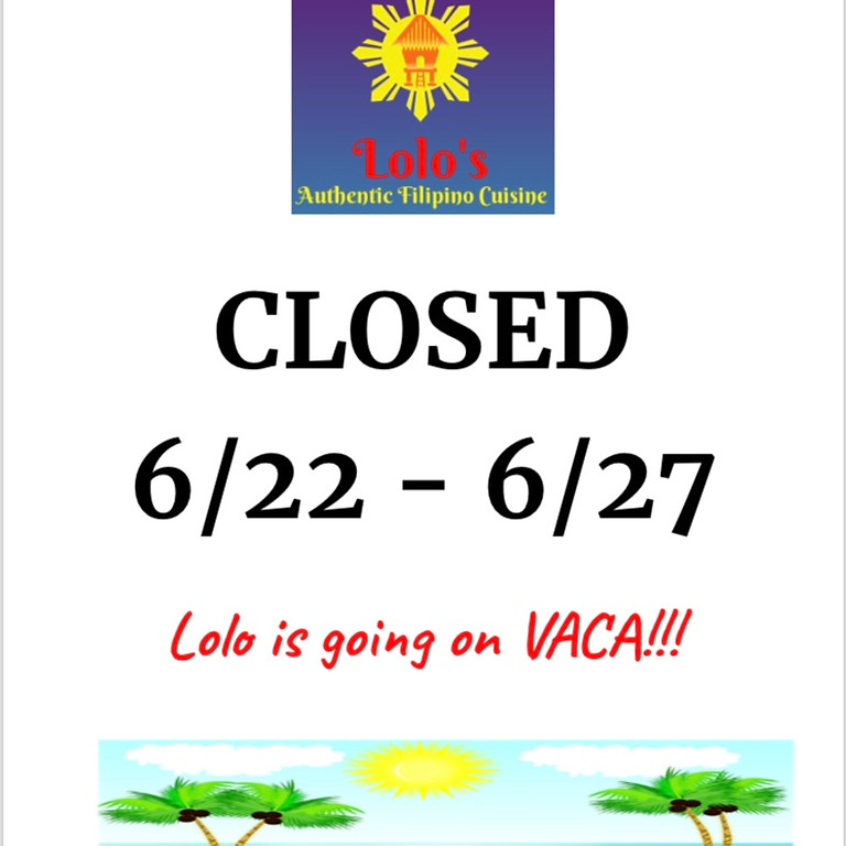 CLOSED on Vacation!!!
