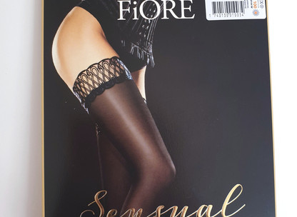 "Bas auto-fixants Contessa Noirs de ""Fiore"" de chez SexyAvenue 9.8/10"