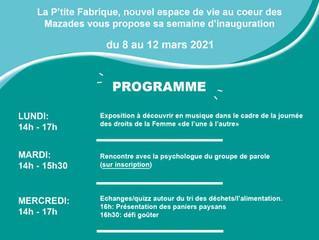 Venez découvrir la P'tite Fabrique lors de sa semaine d'inauguration  du 8 au 12 mars !