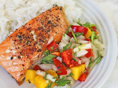 Salmon, Coconut Rice, and Mango Salsa
