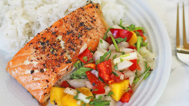 Salmon, Coconut Rice, and Mango Salsa