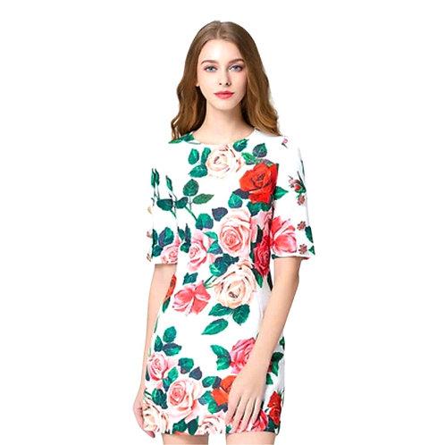 Vestido corto rosas