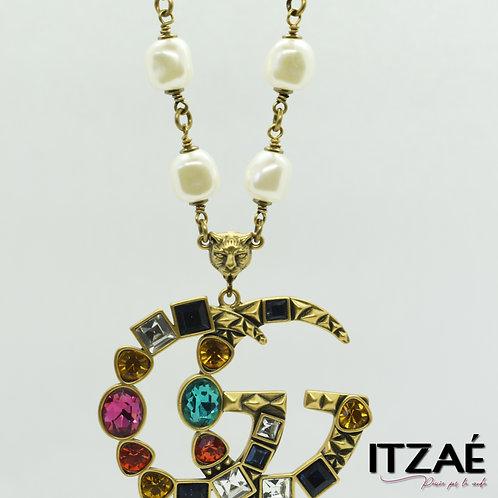 Collar largo  perlas con cristales