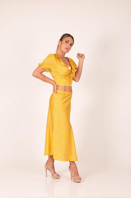 Conjunto  Amarillo c/Flores